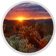 Cholla Sunset  Round Beach Towel