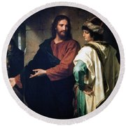 Christ And The Rich Young Ruler Round Beach Towel