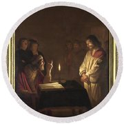 Christ Before The High Priest Round Beach Towel by Gerrit van Honthorst