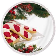 Christmas Cookies Decorated With Real Tree Branches Round Beach Towel