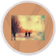 Christmas Day Round Beach Towel by Kathy Bassett