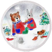 Christmas Friends Round Beach Towel