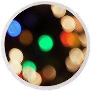 Round Beach Towel featuring the photograph Christmas Lights by Susan Stone
