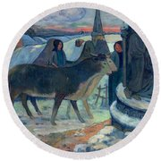 Christmas Night The Blessing Of The Oxen Round Beach Towel