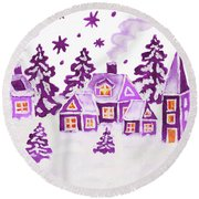 Christmas Picture In Raspberry Pink Colours Round Beach Towel