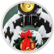 Christmas Train At Pacific Junction Round Beach Towel