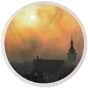 Church Of Our Lady Victorious, Prague, Czech Republic. Round Beach Towel