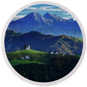 Church Of Saint Thomas In The Skofja Loka Hills Round Beach Towel