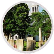 Round Beach Towel featuring the photograph Church On The Hill by James Kirkikis