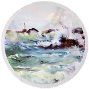 Churning Surf Round Beach Towel