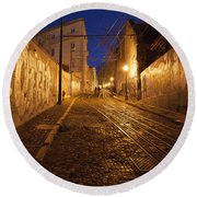 City Of Lisbon By Night In Portugal Round Beach Towel