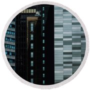 City Perspective Round Beach Towel by Michael Nowotny