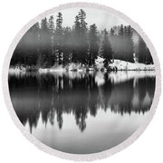 Round Beach Towel featuring the photograph Clear Lake by Cat Connor