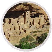 Round Beach Towel featuring the photograph Cliff Palace Mesa Verde by Debby Pueschel