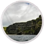 Round Beach Towel featuring the photograph Cliffs Of Moher From The Sea by RicardMN Photography