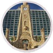 Clock Tower Round Beach Towel