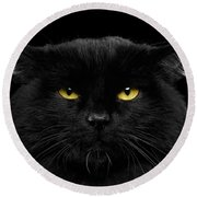 Close-up Black Cat With Yellow Eyes Round Beach Towel