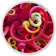 Close-up Of Art Glass By Dale Chihuly Round Beach Towel