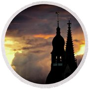 Cloudscape Of Orange Sunset Old Town Riga Latvia Round Beach Towel