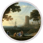 Coast View With The Abduction Of Europa Round Beach Towel