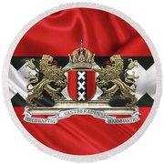 Coat Of Arms Of Amsterdam Over Flag Of Amsterdam Round Beach Towel by Serge Averbukh