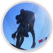 Round Beach Towel featuring the photograph Cobber Statue by Therese Alcorn