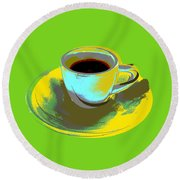 Round Beach Towel featuring the digital art Coffee Cup Pop Art by Jean luc Comperat