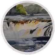 Cohoes Falls Study 2 Round Beach Towel