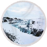 Cold Winter Day At Gullfoss, Iceland Round Beach Towel