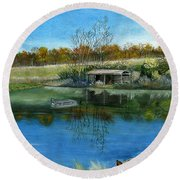 Round Beach Towel featuring the painting Cole Hill Pond by Melly Terpening