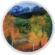Round Beach Towel featuring the painting Colorado Aspens by Jeanette French