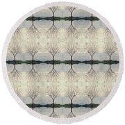 Colorado Cottonwood Tree Mirror Image  Round Beach Towel