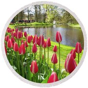 Colorful Blooming Tulips Round Beach Towel