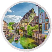 Colorful Colmar Round Beach Towel by JR Photography