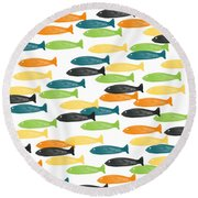 Colorful Fish  Round Beach Towel by Linda Woods