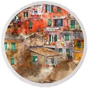 Colorful Homes In Cinque Terre Italy Round Beach Towel