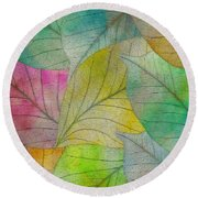Round Beach Towel featuring the digital art Colorful Leaves by Klara Acel