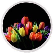 Colorful Tulips Round Beach Towel