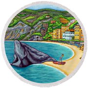 Colours Of Monterosso Round Beach Towel