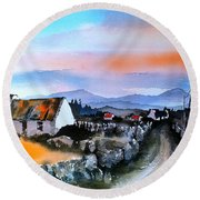 Connemara Sunset, Galway Round Beach Towel