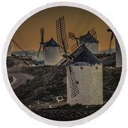 Round Beach Towel featuring the photograph Consuegra Windmills 2 by Heiko Koehrer-Wagner