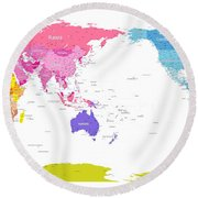 Continents World Map Round Beach Towel