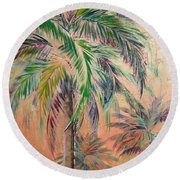 Copper Trio Of Palms Round Beach Towel