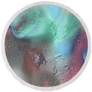 Coral, Turquoise, Teal Round Beach Towel