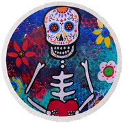 Corazon Day Of The Dead Round Beach Towel