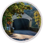 Round Beach Towel featuring the photograph Cornish-windsor Covered Bridge by Jeff Folger