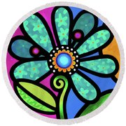 Cosmic Daisy In Aqua Round Beach Towel