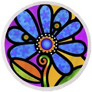 Cosmic Daisy In Blue Round Beach Towel