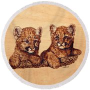 Cougar Cubs Round Beach Towel by Ron Haist