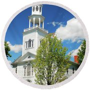 Round Beach Towel featuring the photograph Country Church by James Kirkikis
